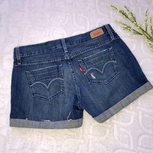 LEVI'S Denim Distressed Cuffed Jean Shorts Size 3